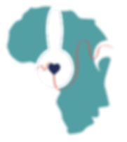 Ubuntu Beats Logo - Map of Africa that resembles a face that is wearng hedphones
