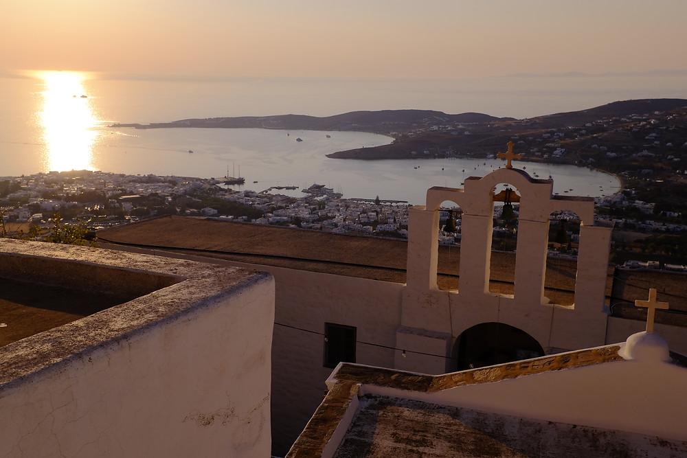 coucher soleil paros cyclades grèce voyage en famille