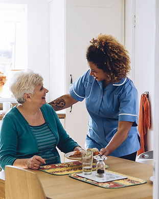 Care worker giving an old lady her dinne