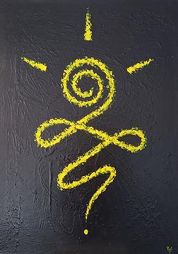 tableau-guerrier-jaune-nadia-lacote-artiste-peintre