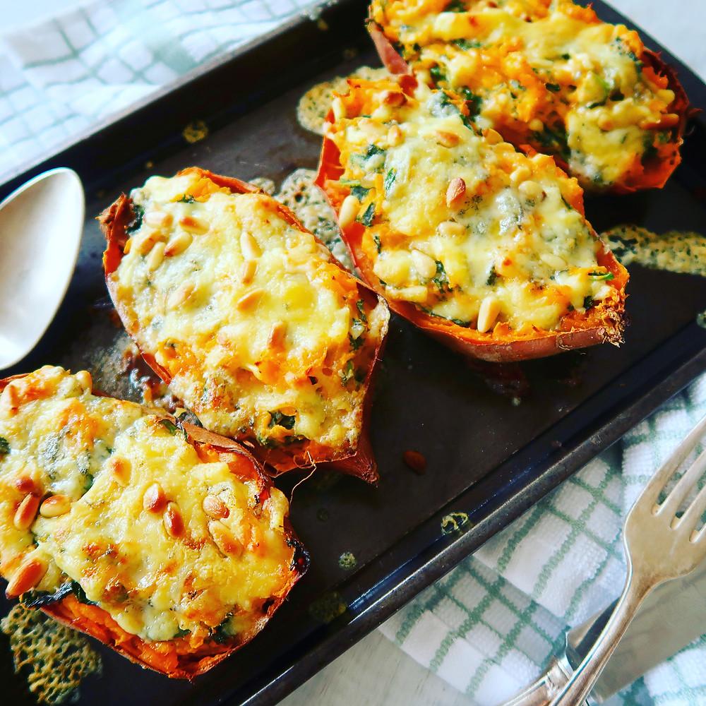 Cheesy Kale Stuffed Sweet Potatoes