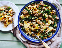 Creamy Herb Sausage & Curly Kale Pappardelle