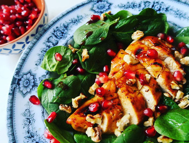 Pomegranate Glazed Chicken with Walnuts and Spinach