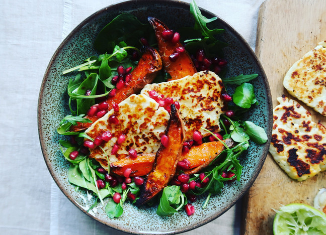 Halloumi, Roasted Sweet Potato & Pomegranate Salad