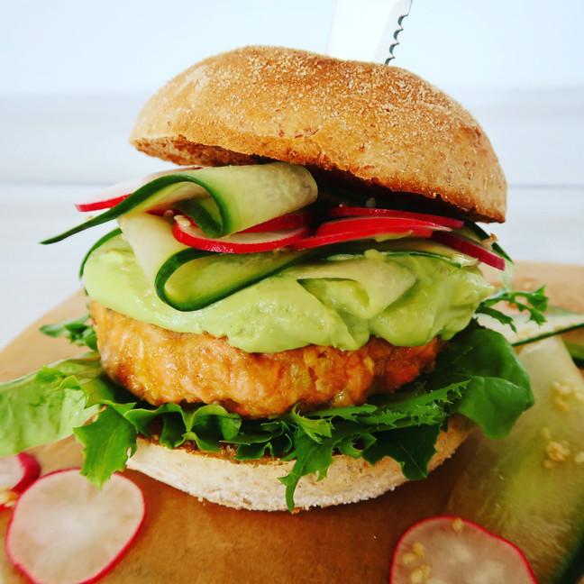 Salmon Burger with Avocado & Wasabi Mayo