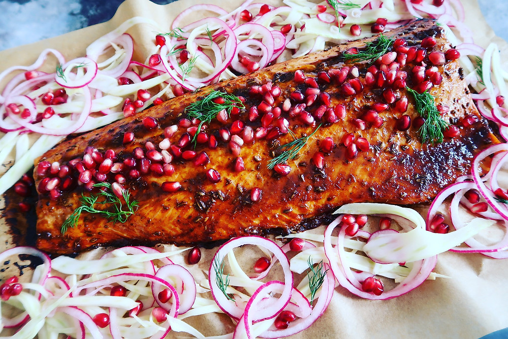 Pomegranate and fennel glazed salmon