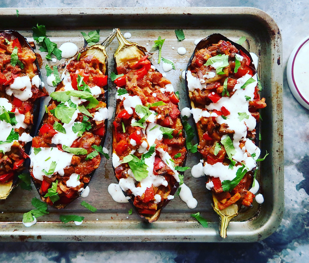 Stuffed Aubergine with Lemon & Sumac Sauce