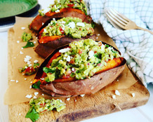 Guacamole Filled Sweet Potato with Feta