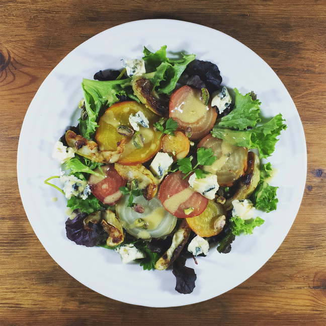 Roasted Beetroot Salad with Blue Cheese, Apple and Pistachio