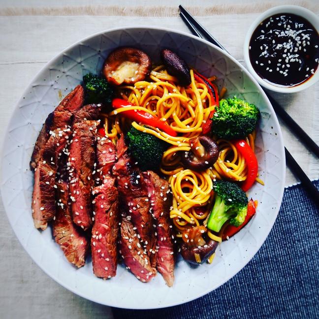 Teriyaki Steak with Broccoli and Shiitake Mushroom Noodles