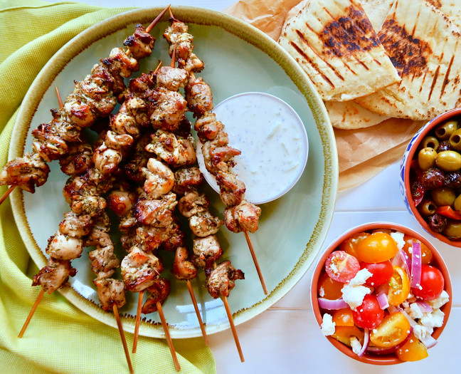 Herby Chicken Souvlaki with Lemon Tzatziki
