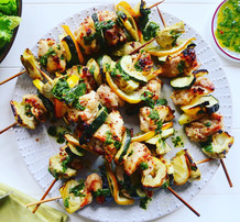 Chicken, Artichoke & Courgette Skewers with Herb Dressing