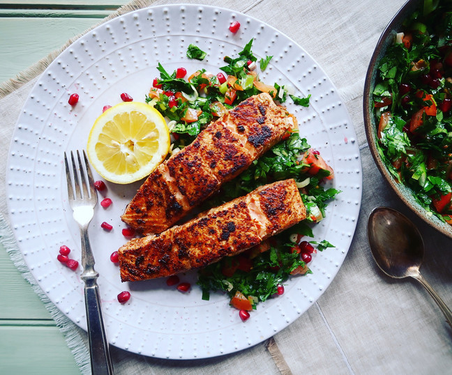 Turkish Spiced Salmon with Tabbouleh