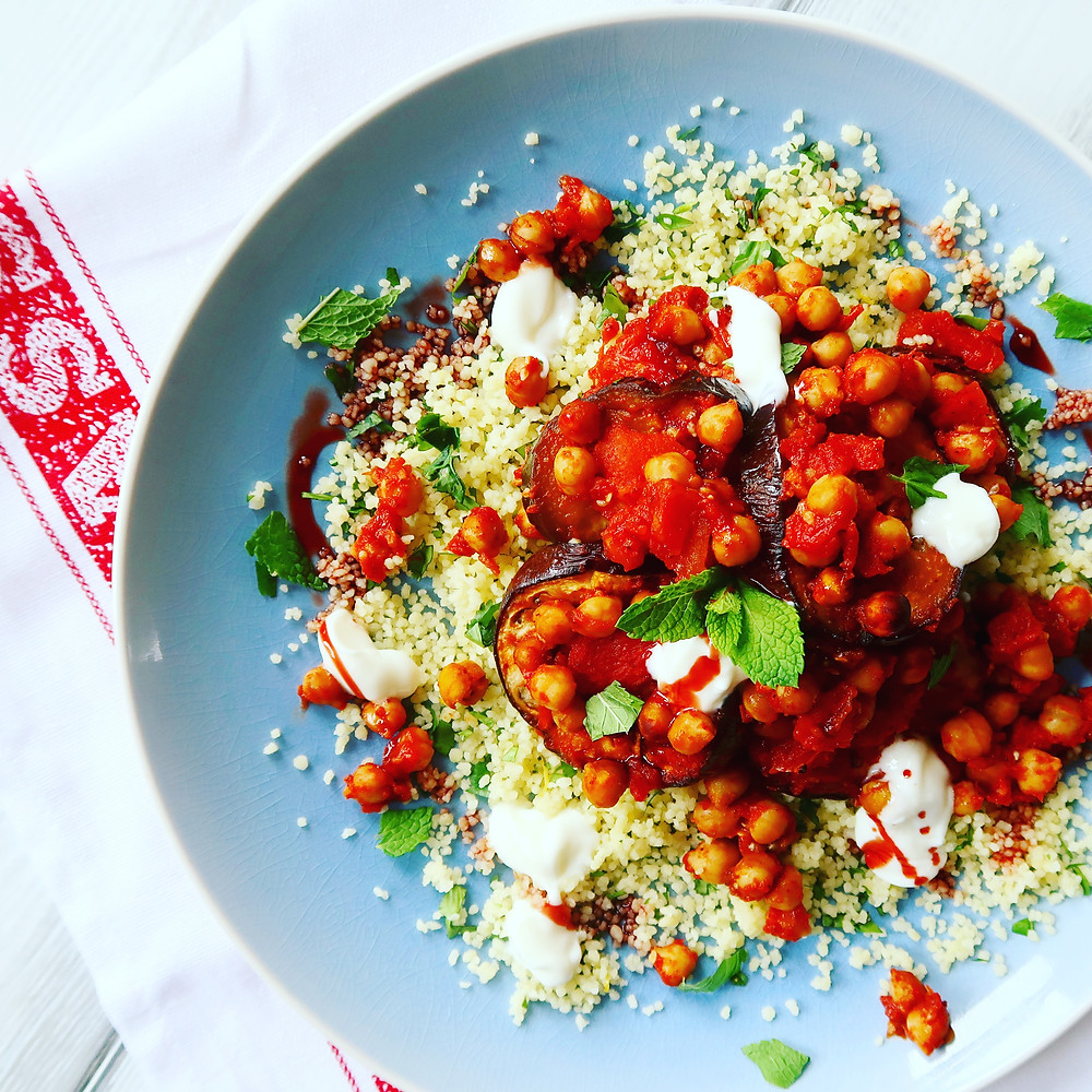 Aubergine and Couscous Bake