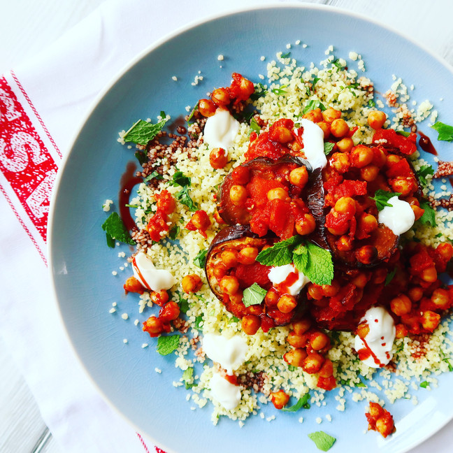 Aubergine & Chickpea Bake with Coriander Couscous