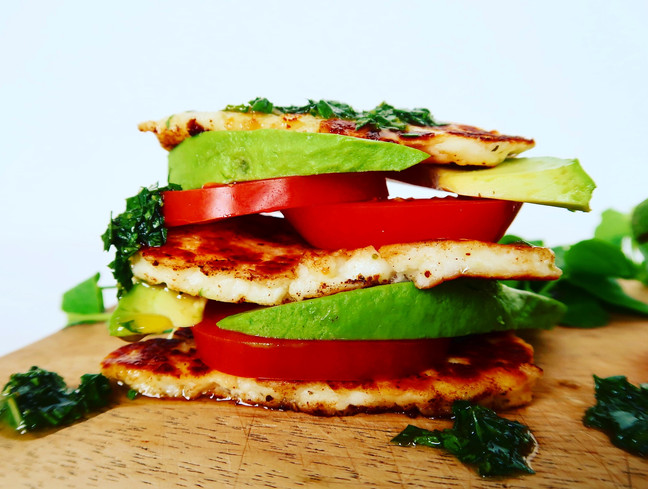 Tricolore Halloumi Stacks with Basil Dressing