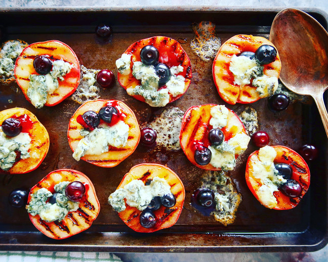 Grilled Doughnut Peaches with Stilton, Honey & Blueberries