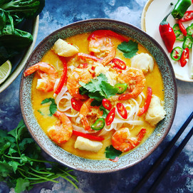 Homemade Laksa with Prawns & Monkfish