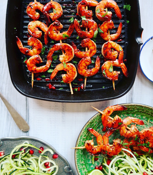 Tangy Chilli & Pomegranate Prawn Skewers