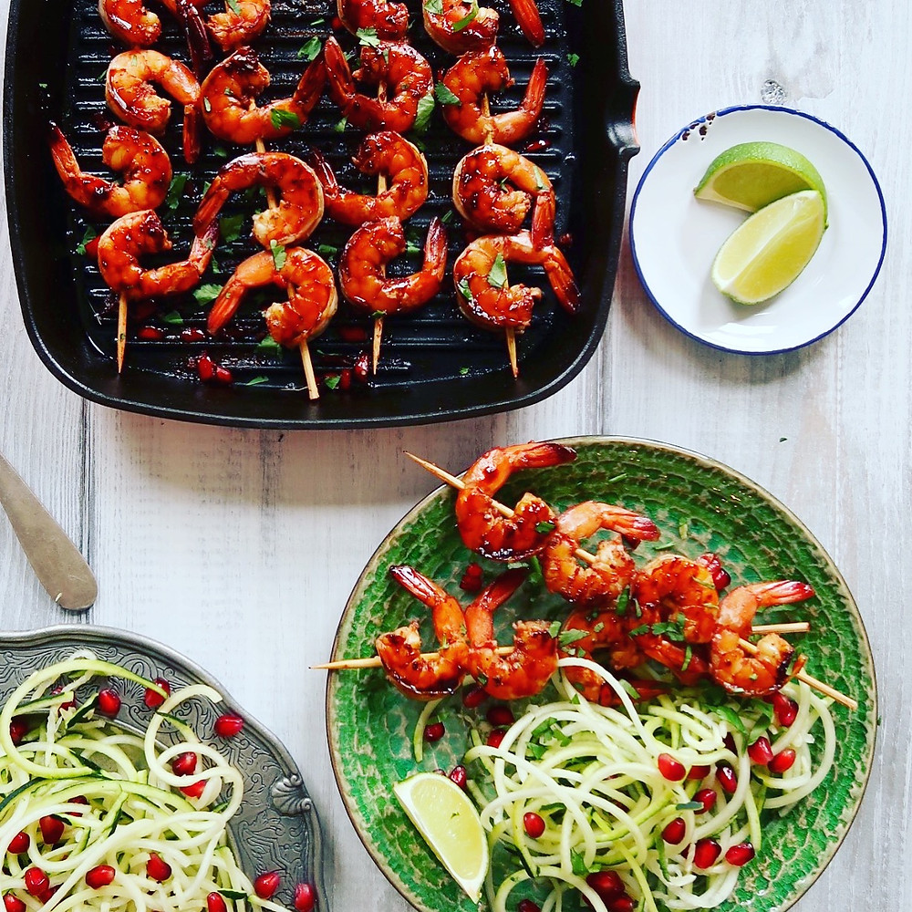 Chilli & Pomegranate Prawn Skewers