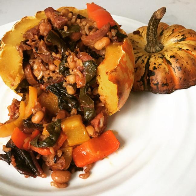 Chorizo and Bean Stuffed Squash