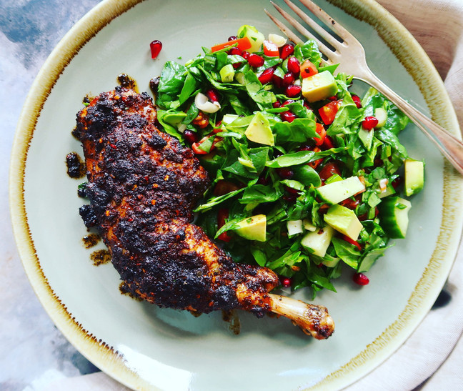 Spicy Sumac Chicken with Spinach & Pomegranate Salad
