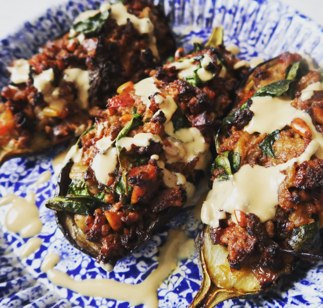 Aubergines Stuffed with Lamb, Pine Nuts and Spinach