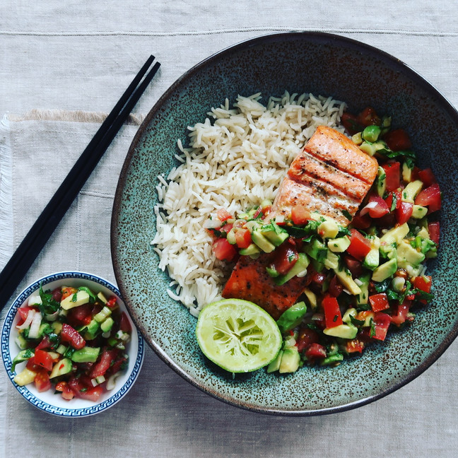 Grilled Salmon with Tomato, Avocado & Chilli Salsa
