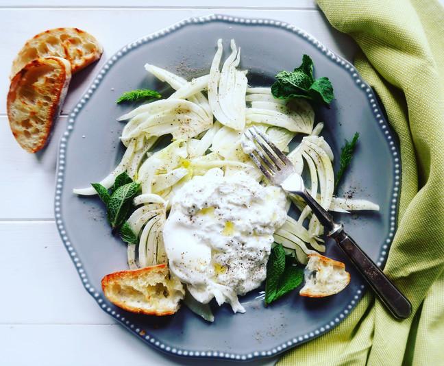 Marinated Fennel & Burrata Salad with Garlic Grilled Ciabatta