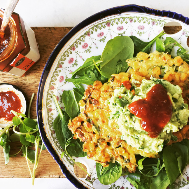 Sweetcorn and Courgette Fritters with Lemon Avocado and Chilli Jam