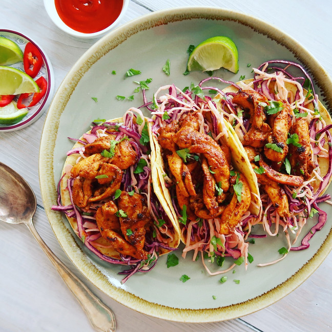 Chilli Chicken Soft Tacos with Slaw