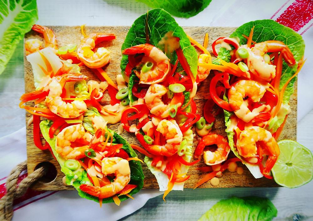 Bang Bang Prawn Lettuce Wraps