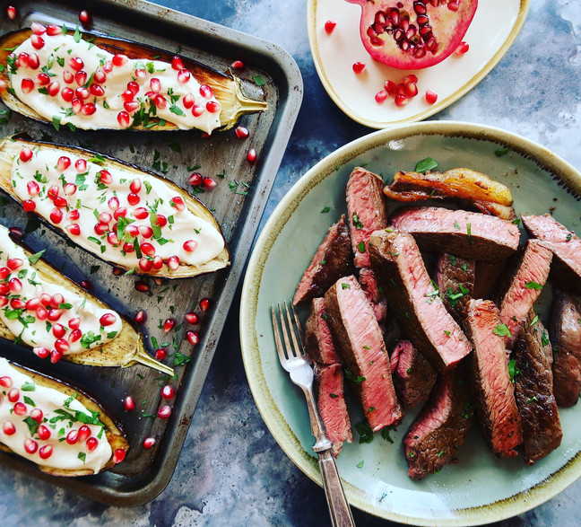 Sharer Steak with Tahini & Pomegranate Aubergine