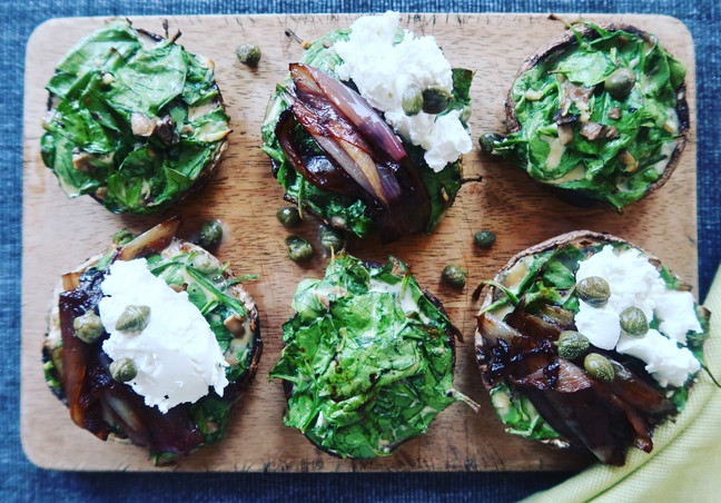 Spinach Stuffed Mushrooms with Balsamic Shallots & Goats Cheese