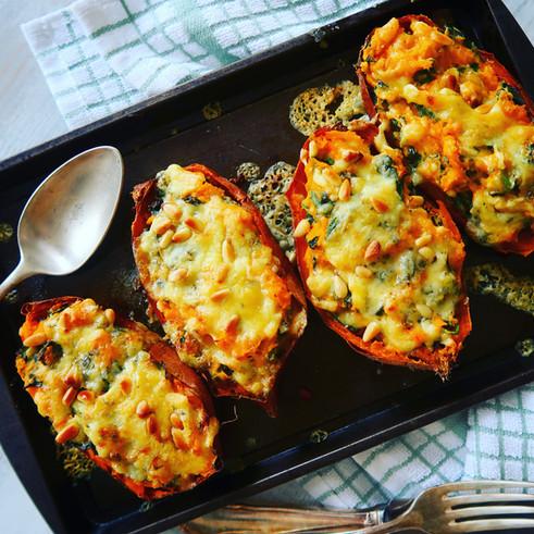 Cheesy, Creamy Kale Stuffed Sweet Potatoes