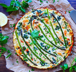 Salmon, Spinach & Asparagus Crustless Quiche