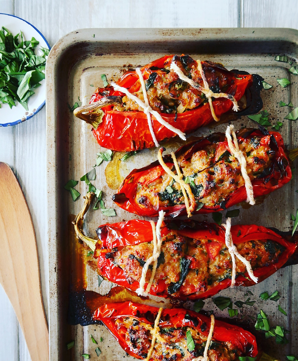 Spicy Sausage Stuffed Romano Peppers
