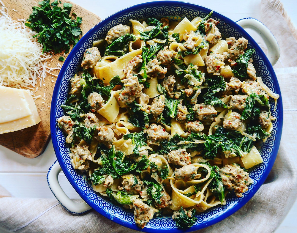 Sausage and Kale Pappardelle