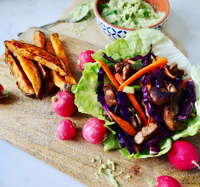 Five Spice Chicken Burgers with Sweet Potato Chips
