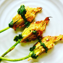 Chilli & Ricotta Courgette Flowers with Basil Dressing