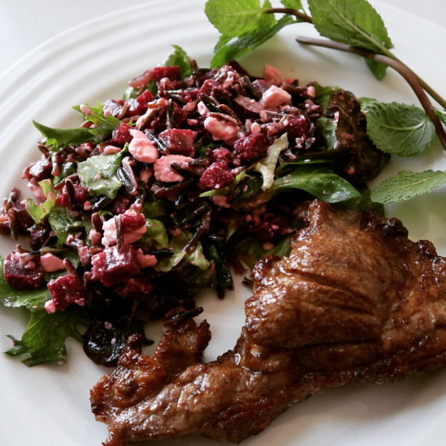 Grilled Spiced Lamb with Wild Rice, Beetroot & Feta Salad