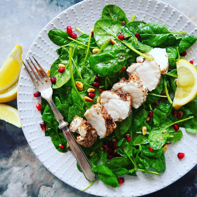 Tangy Sumac Monkfish with Spinach & Pine Nuts