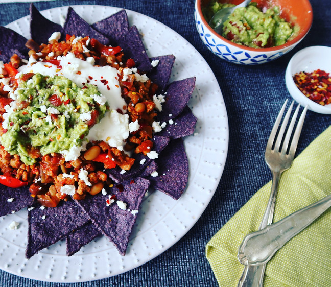 White Chilli Nachos with Blue Maize Chips