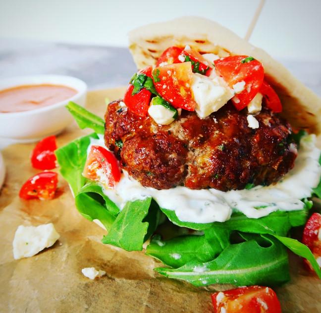 Lamb & Feta Burgers with Harissa Sauce