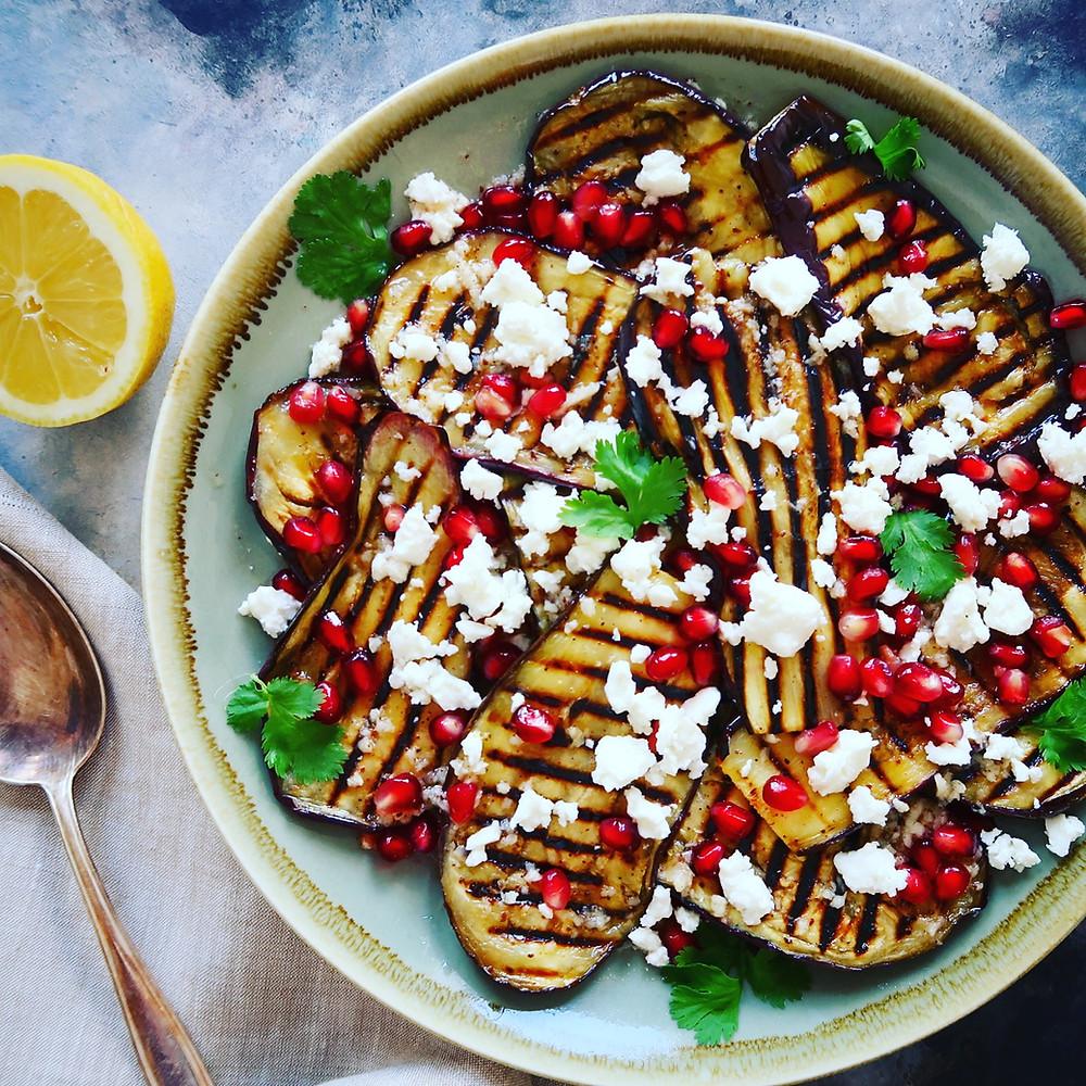 Grilled Aubergine, Pomegranate and Feta Salad