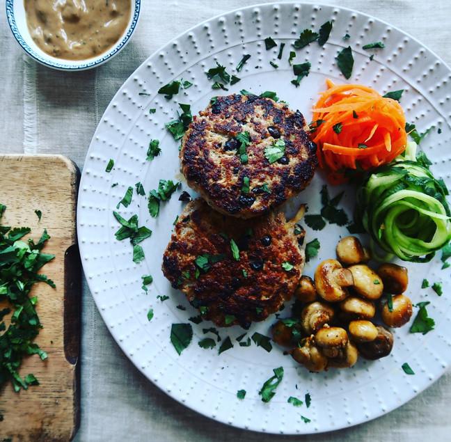 Pork & Black Bean Patties with Pickled Vegetables & Garlic Mushrooms
