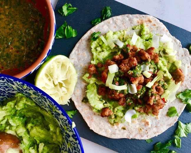 Spicy Sausage Tacos with Coriander and Lime Dressing
