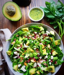 Lentil, Feta & Avocado Salad with Lemony Basil Dressing