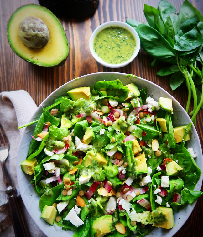 Lentil, Feta & Avocado Salad with Lemony Basil Dressing