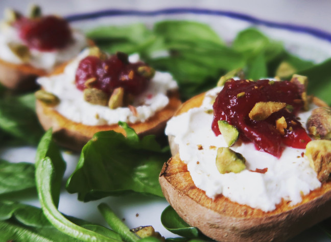 Sweet Potato Toast with Goats Cheese, Cranberry and Pistachio